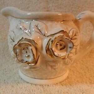 Vintage Basket Weave Ivory Porcelain Creamer Japan